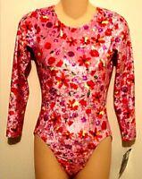 GK Elite Leotard Long Sleeved Gymnastic Dance Red Pink Velvet Floral AL