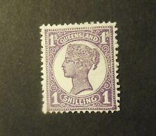 "(1) Vintage ""Queensland"" (Australia) Stamp (1890's=Queen Victoria)=Mint (No Gum)"
