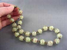 Antique GREENISH YELLOW Venetian Aventurine Glass Sommerso Murano Bead Necklace