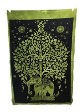 Indio Tapiz Colgante de Pared Mandala Póster Tamaño Árbol Elefante verde TAPICES