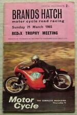 BRANDS HATCH 21 Mar 1965 REDEX TROPHY MEETING Motorcycle Official Programme