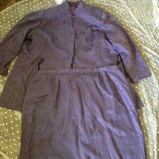 Chad Stevens 28 W Lavender 2 Piece Suit Long Jacket/skirt Solid Floral Brocade P