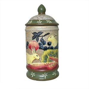 Toyo Trading Co. Rabbit & Fruit painted decor canister with lid