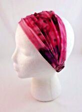 Pink Tie Dye Headband Extra Wide Fabric Stretchy Bohemian