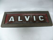 """ANTIQUE ORIGINAL HOUSE NAME SIGN """" ALVIC """"  FRAMED MIRRORED WRITING PAINTED"""