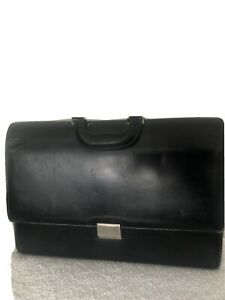 Gucci Black Leather Briefcase With Silver Hardware