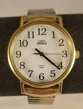 Classic Timex Indiglo White Dial Big Numbers Mens Watch 34mm No Date See Pics