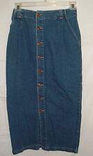 GAP Womens Sz 8 Button Front Full Length Maxi Denim Jean Skirt Boho Modesty