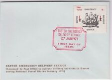 Stamp England 1971 Exeter emergency post 4/- on 1d overprint on relative FDC