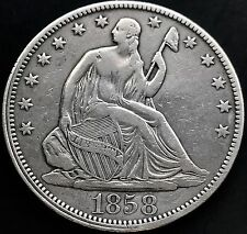 USA 1858 seated Liberty HALF DOLLARO ARGENTO 50 cent Philadelphia XF conservazione 4954