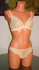 NWT Chantelle CHANTILLY GLAMOUR Bra / Panty, 36A / XL Yellow