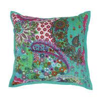 Cotton Decorative Boho 16'' Kantha Cushion Cover Throw Indian Case Vintage Decor