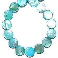 MP774L Blue AB 10mm Flat Round Coin Mother of Pearl Gemstone Shell Beads 16""