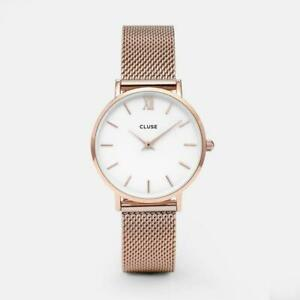 CLUSE Minuit Mesh Rose Gold/White CW0101203001 Watch