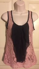 Rue 21 Women Top Nylon Blend Knit Ruffle Sleeveless Collarless Pink Black Size S