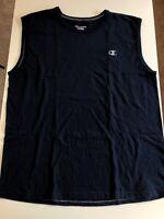 Champion Men's Muscle Tee Sz XL Navy Blue Tank Top Sleeveless Embroidered Logo