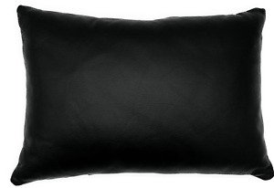 Full Grain Leather Black Lumbar Pillow Cover Only Or With Cushion Couch Decor