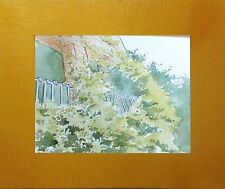"""6"""" x 8"""" Original Watercolor Floral Landscape painting by A. Avila with Mat frame"""