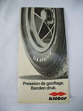 70'S KLEBER TIRES FRENCH/DUTCH ,european car vehicle tire pressure guide folder