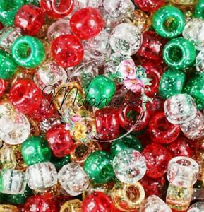 3 For 2 X100 CHRISTMAS SPARKLE MIX 9 X 6mm PONY BEADS