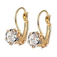 Fashion Stainless Steel CZ Dangle Drop earrings, Hypoallergenic