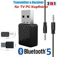 Bluetooth 5.0 Transmitter Empfänger Wireless Aux Audio Adapter Für TV Kopfhörer