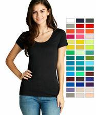 Women Basic Scoop Neck Short Sleeve T-Shirt Plain Top Solid Stretch Tee