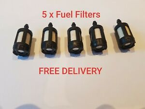 5 X Fuel Filter For petrol  Chainsaw, Leaf Blower,  Strimmer, Hedge Trimmer  etc