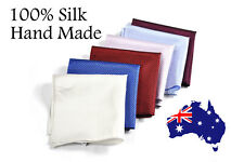 Men 100% Silk Handmade Pocket Square Grids Pattern Wedding Hanky Handkerchief