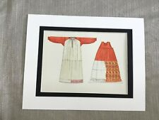 Antique Fashion Print White Russian Traditional Costume Peasant Tunic Skirt