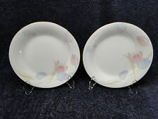 "Mikasa Swiss Garden Salad Plates CR009 Bone Pink Blue Tulips 7 1/2"" TWO"