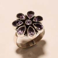 5.20 Gm Natural Amethyst Ring 925 Solid Sterling Silver Fine Ring Size 7 i-977