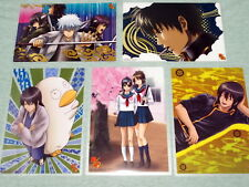 "New BANDAI Gintama Clear mini Poster Card 5 sheets 8.3 x 5.7"" Carddass A4 Folder"