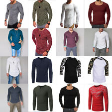 Fashion Men's Tee Shirt Slim Fit V-Neck Long Sleeve Muscle Casual Tops T Shirts