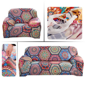 1/2/3/4Seat Bohemian Mandala Pattern Sofa Cover Couch Armchair Stretch Slipcover
