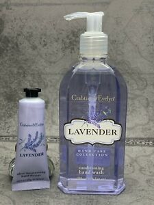 CRABTREE & EVELYN~LAVENDER HAND WASH & HAND THERAPY LOT 8.50z wash & 25gm cream