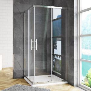 Square Rectangle Corner Entry Shower Enclosure 6mm Glass Sliding Door Stone Tray