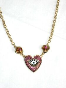 Betsey Johnson Necklace Evil Eye Heart Pendant Pink Rhinestone Gold Multi $48