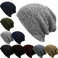 Men Women Solid Knit Baggy Beanie Winter Hat Ski Slouchy Chic Knitted Cap Skull