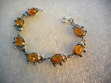 STERLING SILVER ELEPHANT BRACELET WITH HONEY AMBER STONES ADORABLE 7 INCHES LONG