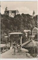 Ansichtskarte Schloß Rochsburg Kreis Rochlitz - Blick auf Schloß und Hängebrücke