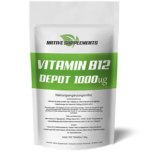 550 Tabletten VITAMIN B12 Depot PREIS-SIEGER GARANTIE 1000mcg Hochdosiert Vegan