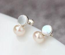 B06 Ohrring Stecker weiße Süßwasser Perle und Perlmutt Sterling Silber 925
