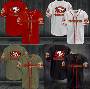 San Francisco 49ers Men's Shirt Summer Casual Button Down Shirt Football Tops