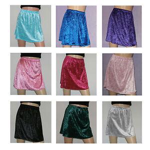Womens Crushed Velvet A-Line Mini Skirt  Size 8-10 Elasticated Waist 14 Colours