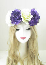 Large Purple Ivory White Rose Flower Headband Garland Hair Crown Festival 148