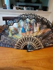 Vtg Lady's Black &gold Lace Folding Hand Fan