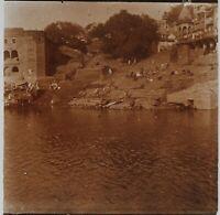 Il Ganges Benares Varanasi India Foto Stereo PL52P1n12 Placca Da Lente Vintage