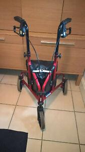 Drive Medical Tri-Walker 3 Wheel Walking Rollator Red Walking Frame Shopping Bag