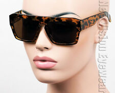 Oversized Flat Top Wayfarer Sunglasses Vintage Brown Tortoise P199